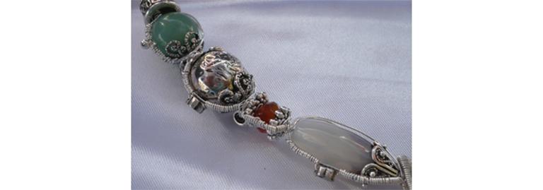 Collier agate, cornaline et fil d'argent - Collection Tiznit