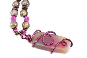 Collier Agate en rose et gris - Détail
