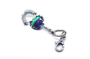 Porte-clés bleu et métal - Collection Bric à Brac