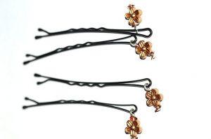 Barrettes métal avec perles dorées - Collection Bric à Brac