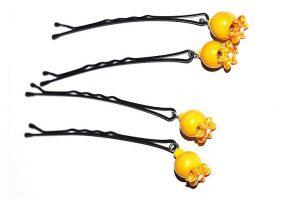 Barrettes métal avec perles bois jaune - Collection Bric à Brac