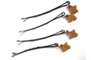 Barrettes métal et perles métal doré 3 - Collection Bric à Brac