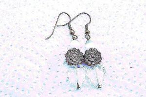 Boucles d'oreilles feuille et fleur - Collection Cooper