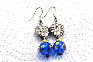 Boucles d'oreilles en verre et métal - Collection Cooper
