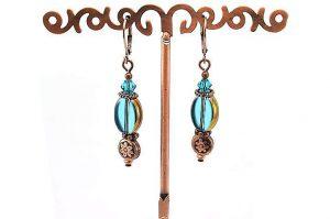 Boucles d'oreilles verre et cuivre - Collection Cooper