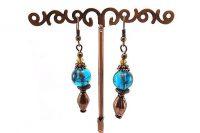 Boucles d'oreilles cuivre et verre - Collection Cooper