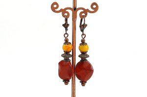 Boucles d'oreilles jaspe rouge - Collection Cooper