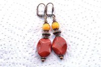 Boucles d'oreilles jaspe rouge - Collection Cooper