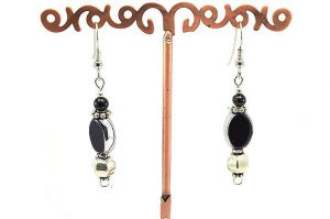 Boucles d'oreilles noir et argent - Collection Cooper