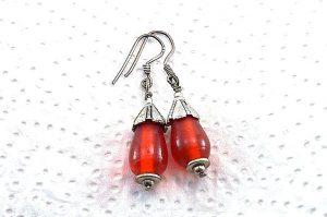 Boucles d'oreilles orange et métal - Collection Cooper