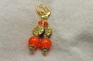 Boucles d'oreilles oranges et dorées - Collection Cooper