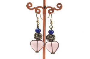 Boucles d'oreilles roses en verre - Collection Cooper