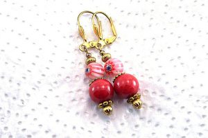 Boucles d'oreilles roses et rouges - Collection Pacific