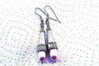 Boucles d'oreilles nacre rose et métal - Collection Cooper