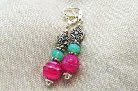 Boucles d'oreilles en verre roses et vert - Collection Cooper