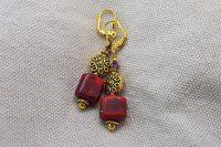 Boucles d'oreilles rouge et doré - Collection Cooper