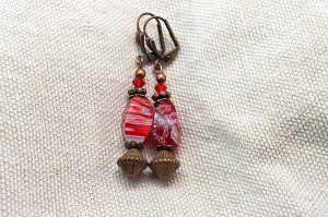 Boucles d'oreilles rouge et cuivre - Collection Cooper