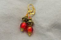 Boucles d'oreilles verre rouge et doré - Collection Cooper