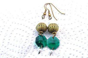 Boucles d'oreilles vertes en verre - Collection Cooper