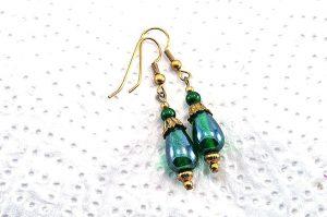 Boucles d'oreilles vertes et fines en verre - Collection Cooper