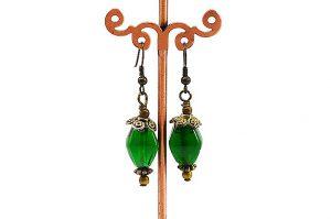 Boucles d'oreilles vertes et dorées - Collection Cooper