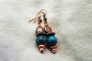 Boucles d'oreilles en chrysocolle - Collection Cooper