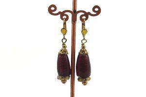 Boucles d'oreilles violettes et dorées - Collection Cooper