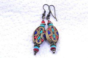 Boucles d'oreilles en perles du Tibet - Collection Casamance
