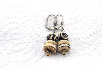 Boucles d'oreilles en corne beige et noir - Collection Casamance