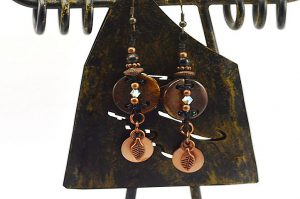 Boucles d'oreilles en corne et cuivre - Collection Casamance