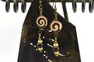 Boucles d'oreilles en corne et métal doré - Collection Casamance