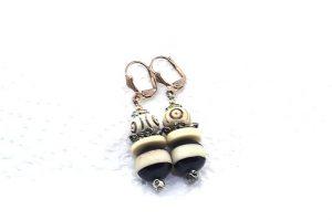 Boucles d'oreilles en corne rayée et os - Collection Casamance