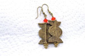 Boucles d'oreilles style ethnique en bronze - Collection Casamance