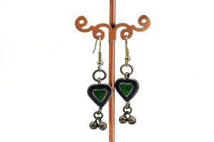 Boucles d'oreilles vertes en métal - Collection Casamance