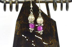 Boucles d'oreilles violettes et corne - Collection Casamance