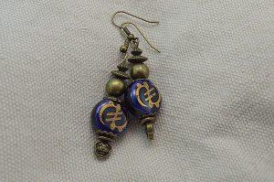 Boucles d'oreilles bleu et bronze - Collection Cooper