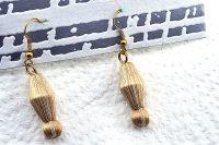 Boucles d'oreilles beige mordoré - Collection Erzébet