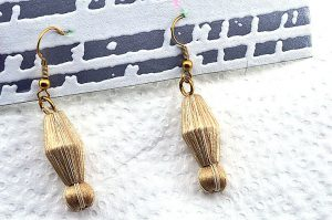 Boucles d'oreilles beige mordoré - Collection Erzébet