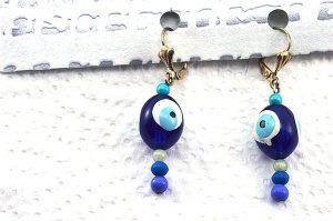 Boucles d'oreilles perle symbole turque - Collection Erzébet