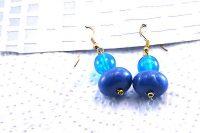 Boucles d'oreilles en double bleu - Collection Erzébet