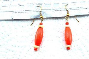 Boucles d'oreilles orange en bois-2 - Collection Erzébet