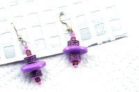 Boucles d'oreilles violettes en résine - Collection Erzébet