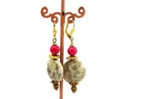 Boucles d'oreilles en jaspe - Collection Jaisalmer