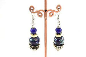 Boucles d'oreilles bleu et blanc - Collection Jaisalmer