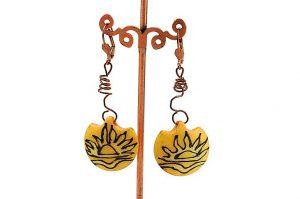 Boucles d'oreilles en résine et fil - Collection Jaisalmer