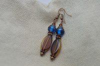 Boucles d'oreilles marron et bleu - Collection Jaisalmer