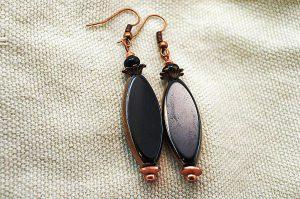 Boucles d'oreilles noir et cuivre - Collection Jaisalmer