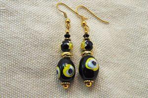 Boucles d'oreilles noir, jaune et doré - Collection Jaisalmer