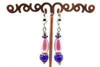 Boucles d'oreilles rose perlé et bleu - Collection Jaisalmer