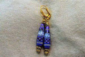 Boucles d'oreilles violettes en bois - Collection Jaisalmer